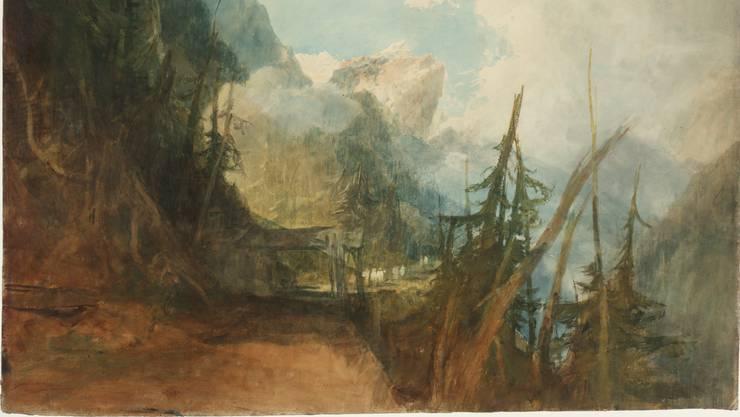 Eine Station auf William Turners erster Schweiz-Reise: «Die Gotthardstrasse zwischen Amsteg und Wassen, Blick ins Reusstal», ca. 1814/15, Gouache, Graphit und Aquarell auf Papier.