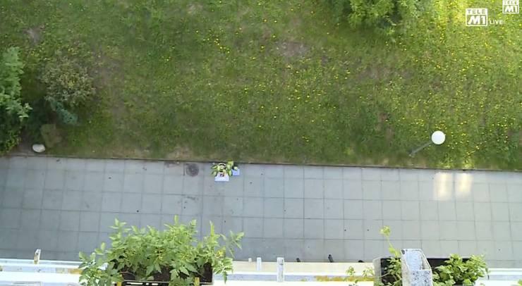 Der Balkon im vierten Stock. Von hier aus fiel Anita auf die Platten.