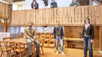Die Aktivitäten in der Oberen Mühle in Oltingen könnten starten. Vorstandsmitglieder der Genossenschaft (von links, vorne) Michael Seidel, Anna-Tina Pfäffli, Thekla Michel sowie (oben) Fidelio Lippuner, Dominik Mangold und Andi Mathis.