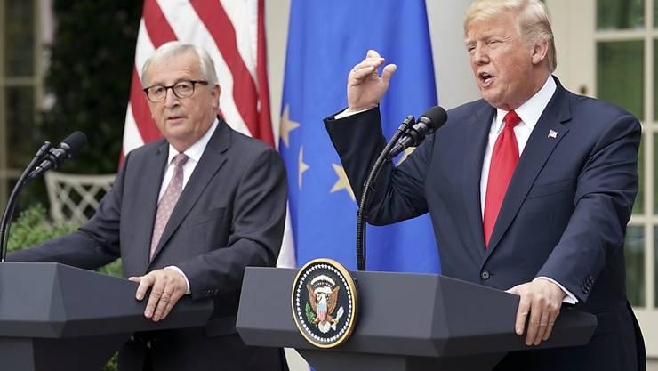 US-Präsident Donald Trump und EU-Kommissionspräsident Jean-Claude Juncker haben sich bei ihrem Gespräch am Mittwoch in Washington über die Handelspolitik überraschend angenähert.
