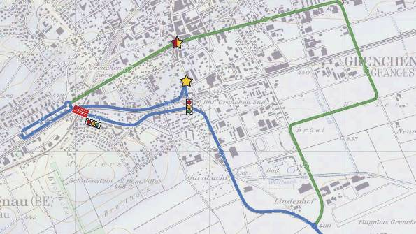 Wegen Bauarbeiten an der Schlachthausstrasse müssen Autos die blaue Umfahrungsroute, Lastwagen die grüne benutzen.  Grafik: PSG