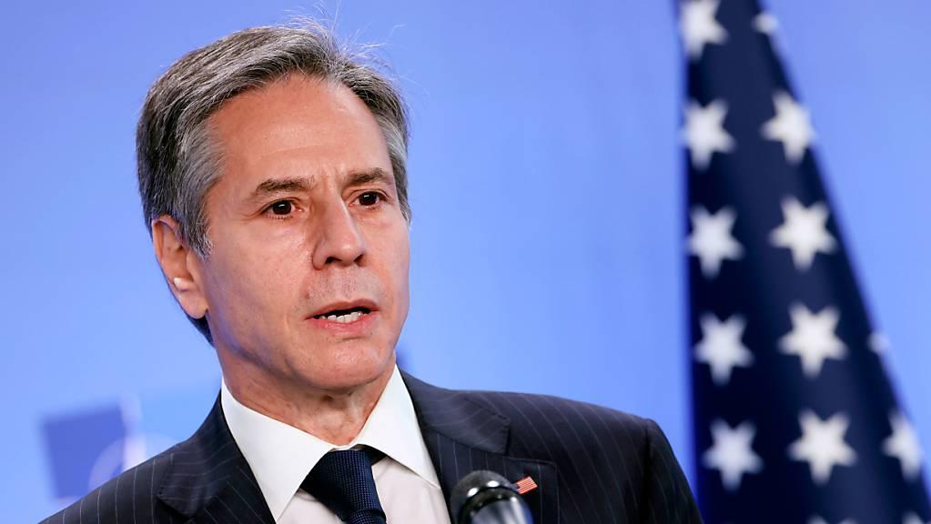 Antony Blinken, Aussenminister der USA, spricht während einer Pressekonferenz im NATO-Hauptquartier.