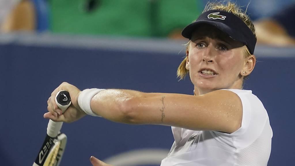 Die Linkshänderin Jil Teichmann lässt die Vorhand ausschwingen. Die Seeländerin ist beim Turnier in Indian Wells gesetzt und geniesst deshalb ein Freilos.