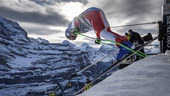 Luca Aerni beim Lauberhorn-Start, bei einem Training dieses Jahr.
