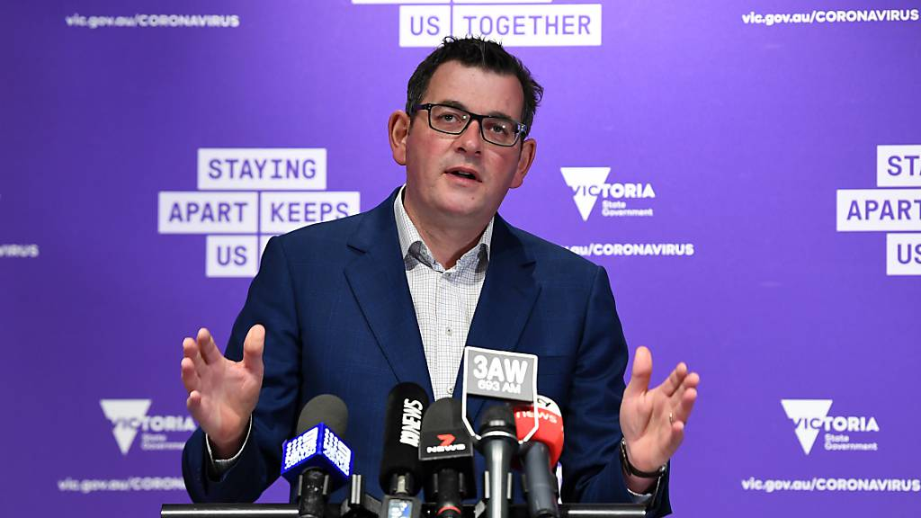 Victorian Premier Daniel Andrews addresses the media during a press conference in Melbourne, Monday, August 3, 2020. Victoria has recorded 429 new cases of coronavirus since yesterday and 13 deaths. (AAP Image/James Ross) NO ARCHIVING