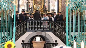 Mitgestalter und Begleiter: Der Jodelklub Am Rhy während des Erntedankgottesdienstes. Bild: afr