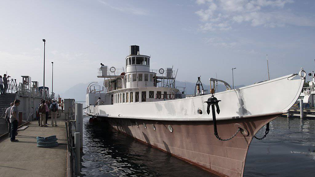 """Das Belle Epoque-Schiff """"Italie"""" unternahm nach einer Restaurierung am Donnerstag die erste Ausfahrt auf dem Genfersee."""