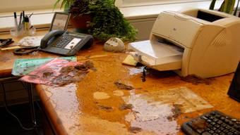 Pervers: Das Pult von Ammann Josef Bütler, nachdem der Inhalt eines chemischen WCs ausgeschüttet wurde. (Bettina Meyer-Herms)