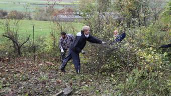 Die Freiwilligen leisten vollen Einsatz bei der Waldrandpflege.