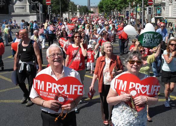Die Abtreibungsgegner an einer ProLife-Demonstration.