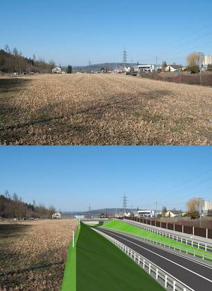 Oben die heutige Situation im Bereich der neuen Kantosstrasse Anschluss Windisch, unten die neue Kantosstrasse mit Anschlussrampe Windisch und neuem Brückenbauwerk
