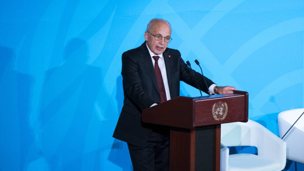 """Bundespräsident Ueli Maurer hat am Montag in New York an der """"Climate Action Summit"""" weniger Ideologie und mehr Innovationen für den Klimawandel gefordert."""