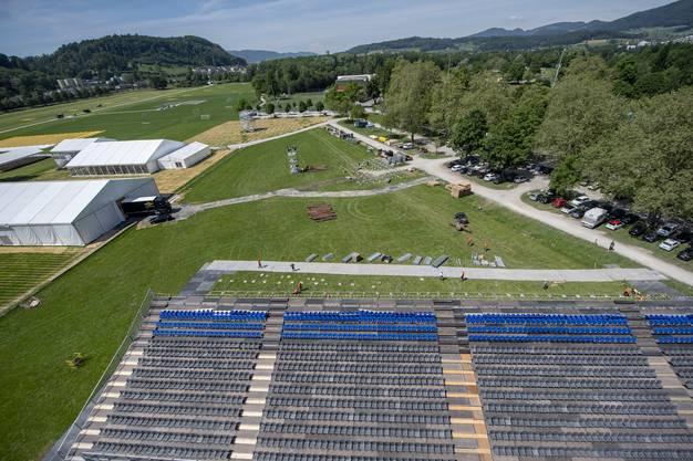 Die Vorbereitungen von oben. Das Eidgenössische Turnfest in Aarau dauert vom 13. Juni bis 23. Juni 2019. (KEYSTONE/Urs Flueeler)