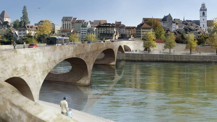So soll der «Pont Neuf» in Aarau aussehen: Die neue Brücke betont ihre Bedeutung als Eingangstor zur höher gelegenen Altstadt.