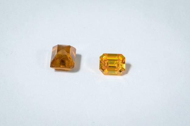 Erst durch das Schleifen wird der Rohdiamant (links) zum funkelnden Edelstein.