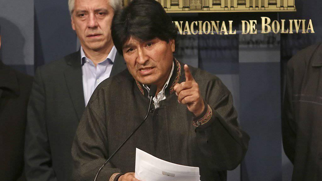 Boliviens Präsident Evo Morales will nicht über seine Amtszeit hinaus, die bis 2020 dauert, Staatschef bleiben. (Archivbild)