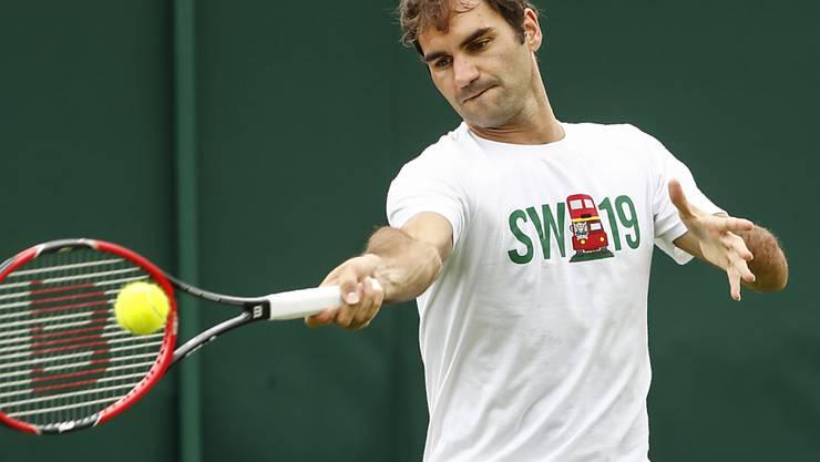 Roger Federer trainiert in Wimbledon