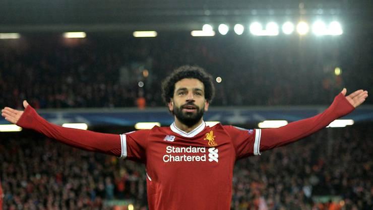 Mohamed Salah lässt sich an der Anfield Road feiern