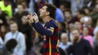 Lionel Messi nach seinem ersten von drei Toren gegen Granada