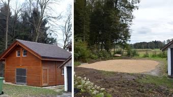 Links: Januar: Das «Chalet» steht noch an seinem Platz. / Rechts: Oktober: Holzschnitzel liegen da, wo das Haus stand.