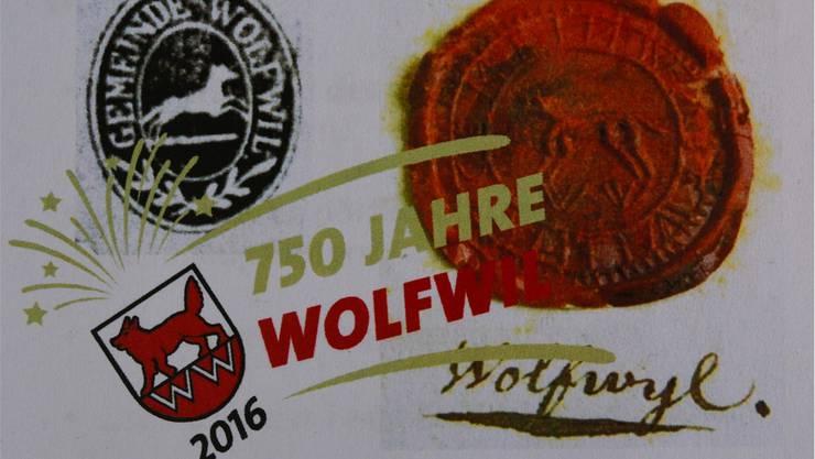 Das Festlogo zusammen mit einem alten Siegel und einem Stempel sowie Wolfwil in der alten Schreibweise mit «y»