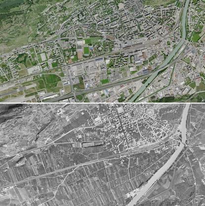 Sion 2017 (oben) und 1946 (unten).