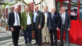 Stolze Firmengründer: Der MLT-Verwaltungsrat (v.l.) mit Ulrich Giezendanner, Jakob Richi, Beat Fischer, Urs Sandmeier (CEO Jura Holding), Hanspeter Meyer und Ueli Gloor (Präsident).