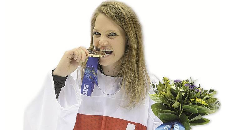Florence Schilling mit ihrer Bronze-Medaille.