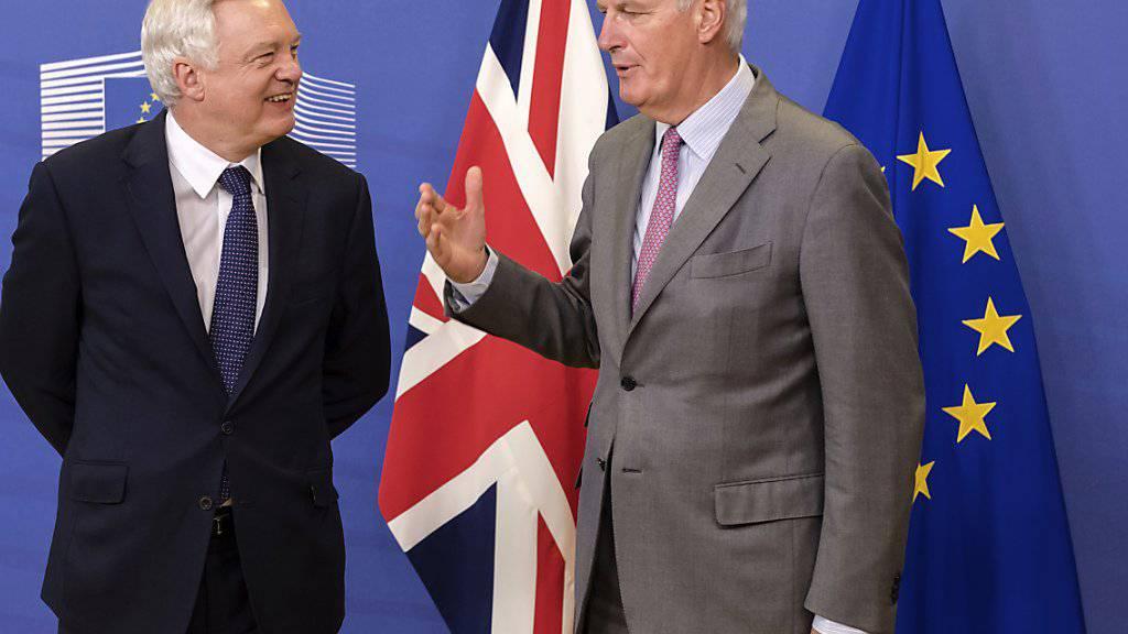 Wollen bei Brexit-Verhandlungen vorankommen: EU-Chefunterhändler Michel Barnier (r.) und der britische Brexit-Minister David Davis.