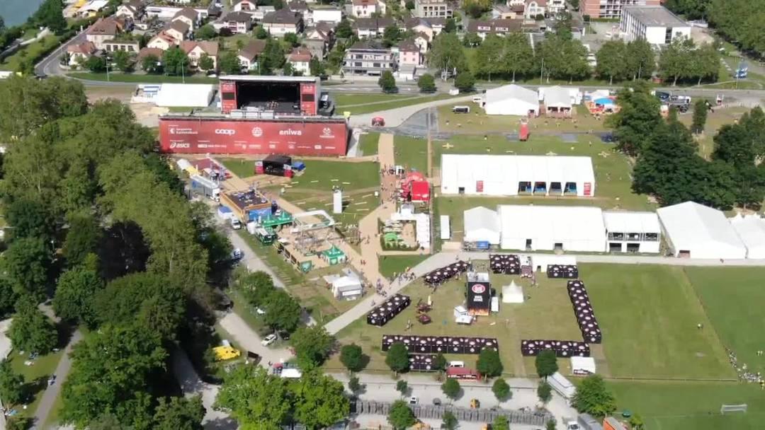 Drohnenaufnahmen vom Eidgenössischen Turnfest in Aarau vom Samstag