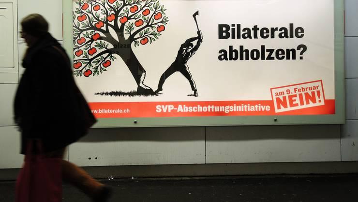 Ein «Nein-Plakat» zur Masseneinwanderungsinitiative der SVP.