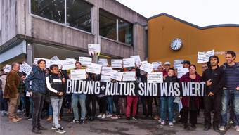Demo für das «Nordportal» an der Einwohnerratsitzung im Oktober 2017. az/san