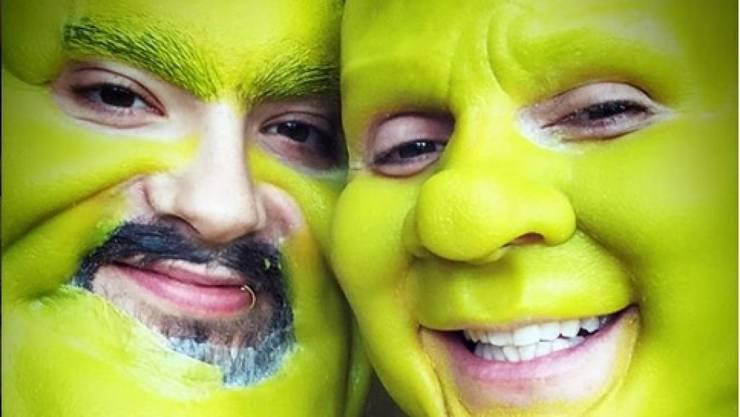 Grün zu Halloween: Heidi Klum (rechts) und ihr Freund Tom Kaulitz wählten die Zeichentrick-Figuren Fiona und Shrek als Sujet für ihre diesjährige Verkleidung.