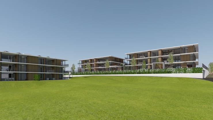 Gebaut werden in Aeschi drei dreistöckige Häuser mit je sechs Eigentumswohnungen.