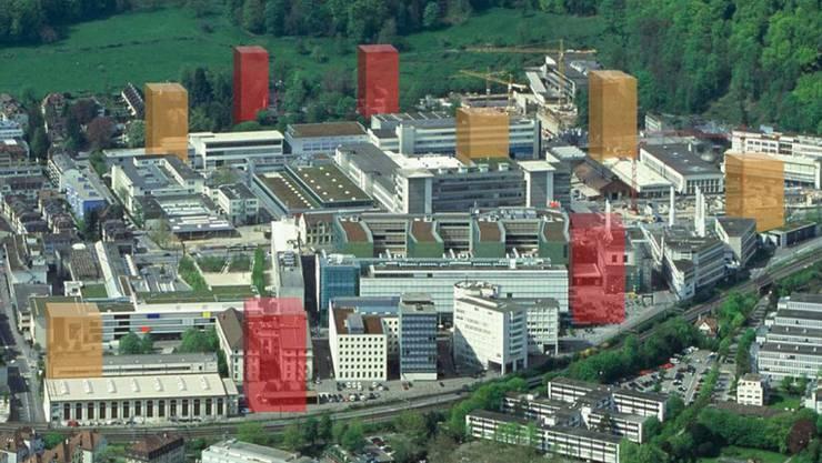 Die fünf gelborangen Hochhäuser sind imaginär und nirgends geplant. zvg