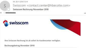 Obacht, diese Rechnung ist nicht von Swisscom, wie man unter anderem an der gefälschten Absender-E-Mail-Adresse erkennt.