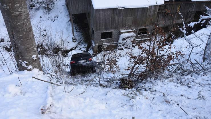Grosses Glück hatte der Lenker dieses Autos in Degersheim SG. Er rutschte eine steile Böschung hinab ...