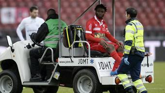 Sion Captain Xavier Kouassi verletzte sich am letzten Sonntag im Letzigrund am Knie und fällt für den Rest der Saison aus