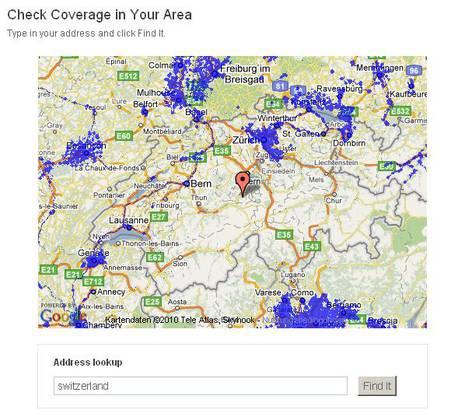 Auf seiner Webseite präsentiert Skyhook seinen Fortschritt beim Erfassen von Funknetzwerken. Hier die Schweiz...
