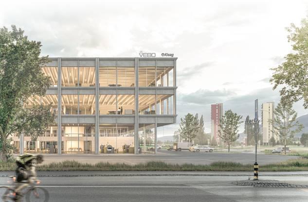 So soll der geplante Neubau auf dem Werkareal der Glutz AG, mit welcher die Vebo einen Baurechtsvertrag eingegangen ist, aussehen.