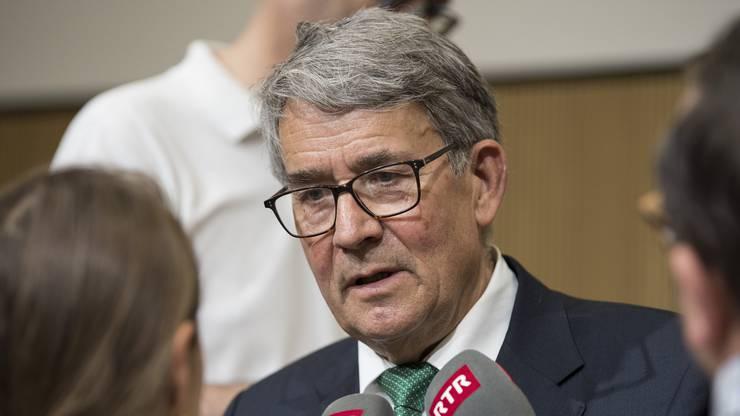 Post-Verwaltungsratspräsident Urs Schwaller an der Medienkonferenz heute.