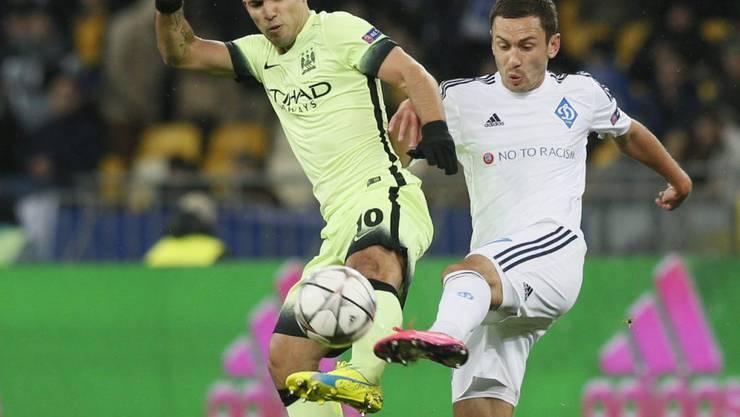 Brachte Manchester City auswärts gegen Dynamo Kiew 1:0 in Führung: Sergio Agüero (links)
