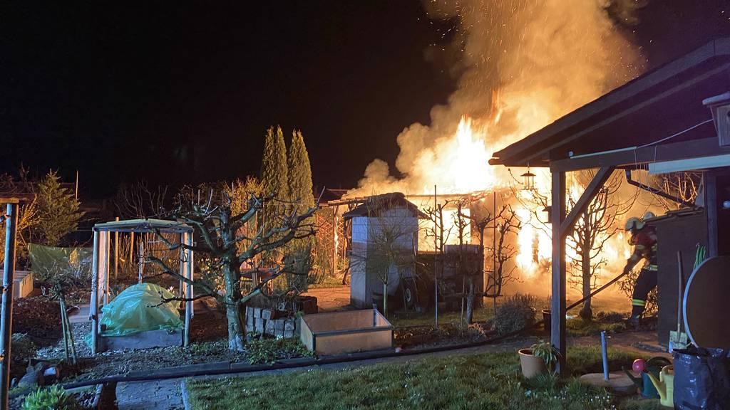 Flammen zerstören Gartenhaus