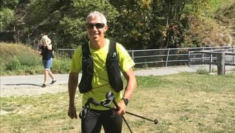 Bald geschafft: Roland Gröflin am Dienstag auf der Etappe zum Simplon Pass.