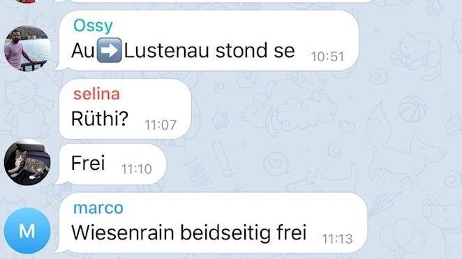 In einem Telegram-Chat warnen sich die Mitglieder gegenseitig vor Grenzkontrollen.