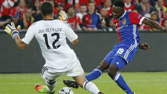 Oberlins grösster Moment beim FC Basel. Nach einem Sprint über das ganze Feld trifft er gegen Benfica Lissabon in der Champions League zum 2:0.