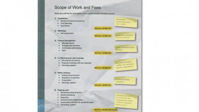 Ganze Arbeit: Kosten-Aufteilung der Firma Burson-Marsteller im Fall Kasachstan. FAKSIMILE, ERGÄNZT MIT DEUTSCHEN ANMERKUNGEN DURCH DIE REDAKTION.