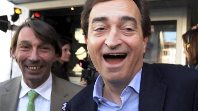 Die Lega-Kandidaten Marco Borradori (r.) und Michele Foletti in Lugano