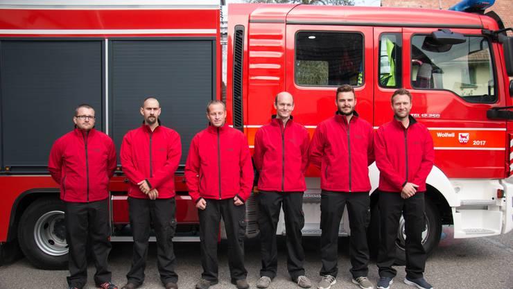 Von links nach rechts: Kommandant Daniel Keller, Leutnant Florian Caluori, Wachtmeister Christian Nützi, Korporal Markus Gerber, Gefreiter Markus Ackermann und Gefreiter Philipp Räber