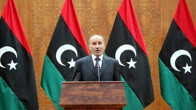 Der libysche Uebergangspräsident Mustafal Abdel Dschalil vor der Presse